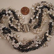 "16"" Fresh Water White & Peacock Cultured Pearl 5 Strand Torsade Necklace"