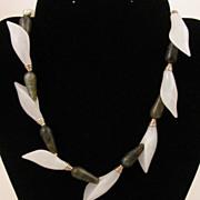 """SALE 16"""" Labradorite & White Quartz Calla Lily Sterling Silver Necklace"""