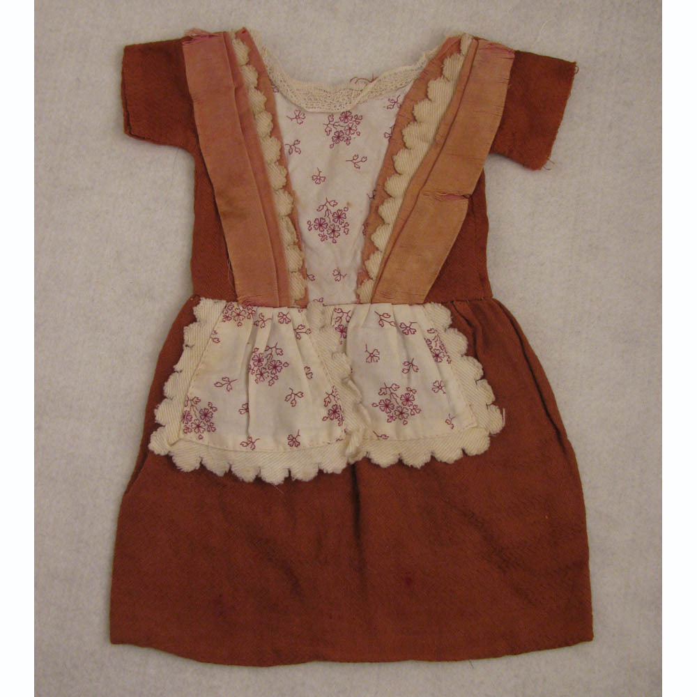 "Antique Commercially Made Brick Color Cotton Dress for 16"" Antique Doll"