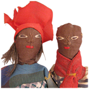 Vintage Pair of Ethnic Black Folk Art Cloth Dolls 8""
