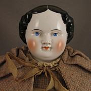 """Antique 21"""" Kestner Flat Top China Head Doll in Wool Tweed"""