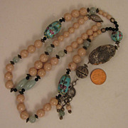 Vintage Long Chinese Stone & Porcelain Bead SP Necklace