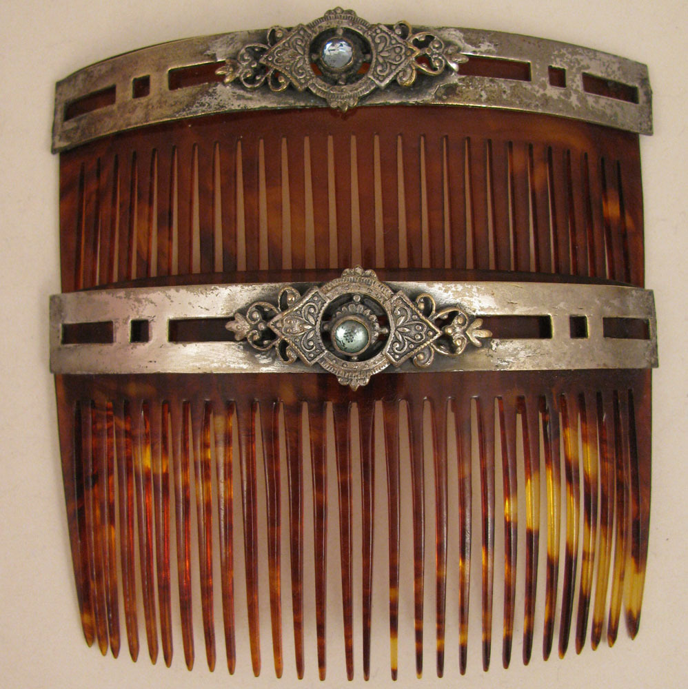 Pair c.1900 Faux Tortoise Shell Set of Hair Combs