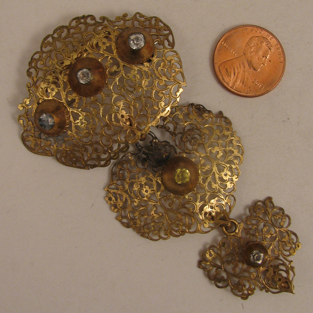 Antique Pinchbeck Filigree 3 Tiered Brooch w/ Paste Stones