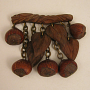 Vintage Carved Wood & Hazel Nut Dangling Brooch