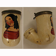 SALE Victorian c.1840s -50s Clay Pipe w/ Lady in Red