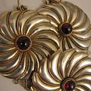 SALE Vintage Sterling Silver Garnet Brooch + Pierced Earrings Pinwheel Set