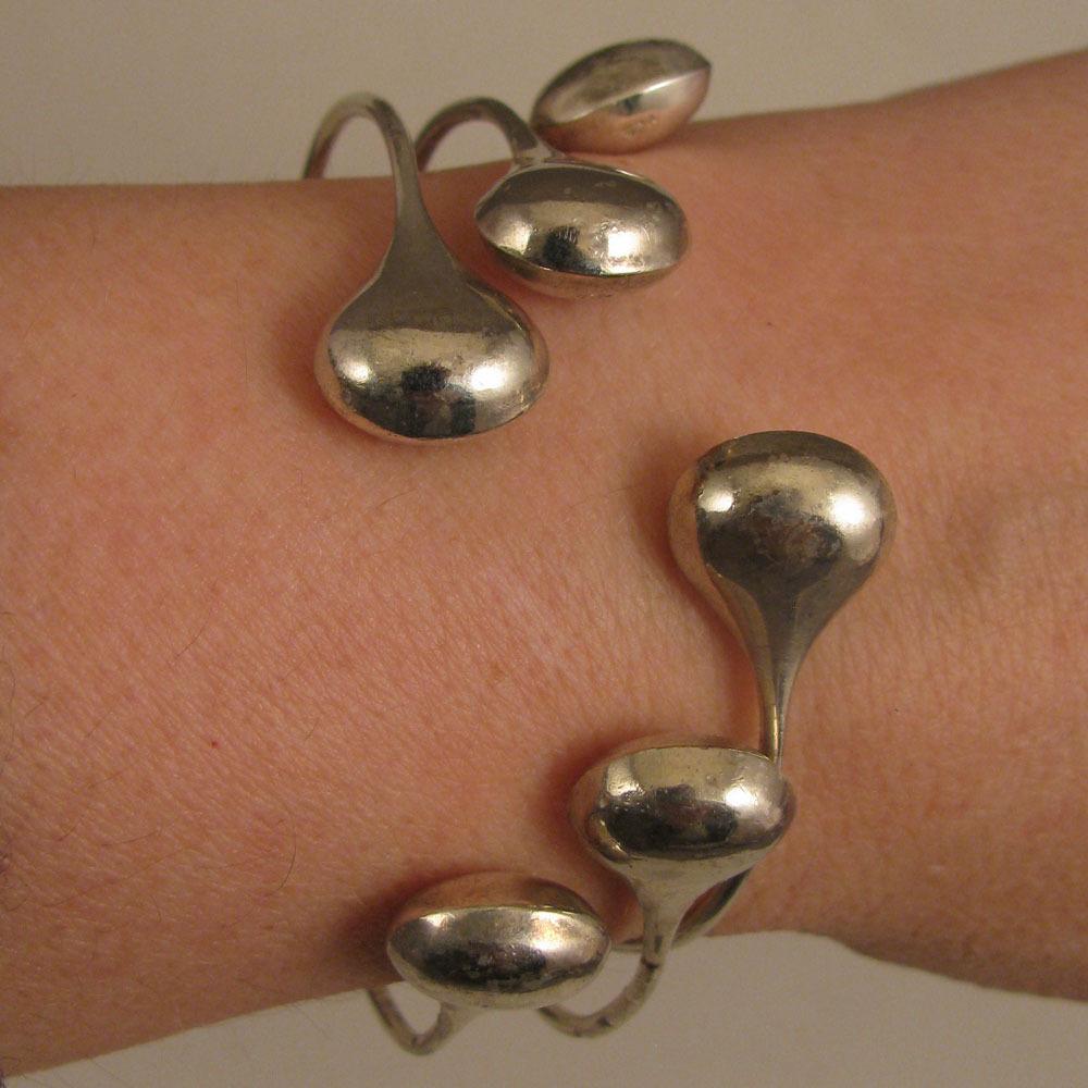 Set of 3 Vintage Sterling Silver Bangle Bracelets w/ Tear Drop Ends