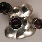 SALE Vintage Mid Century Modern Abstract Sterling Silver Amethyst Brooch