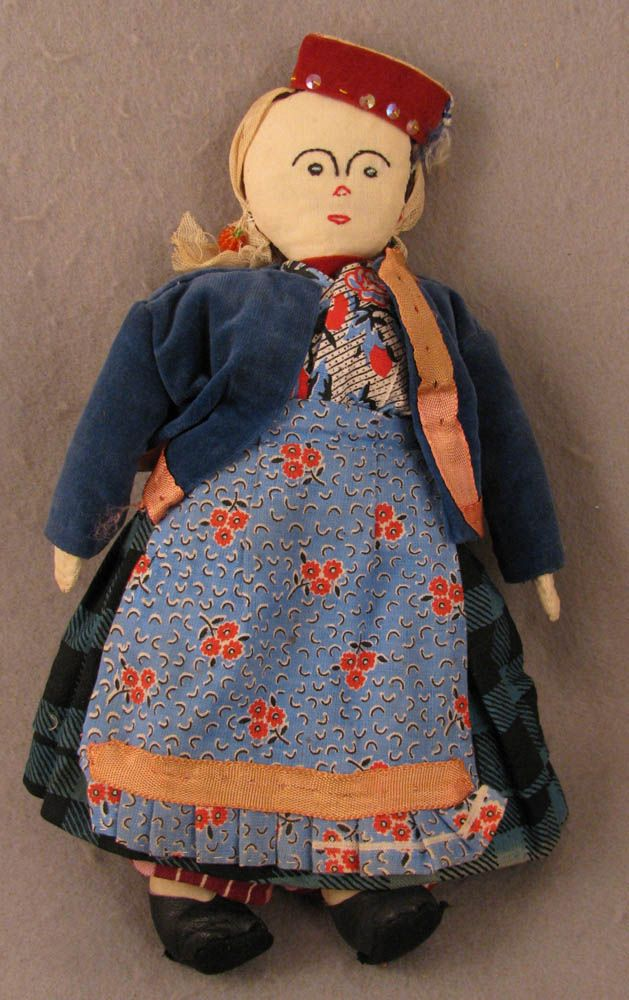 "12"" Mid 20th c. Vintage Hand Made Turkomen Girl Cloth Doll"