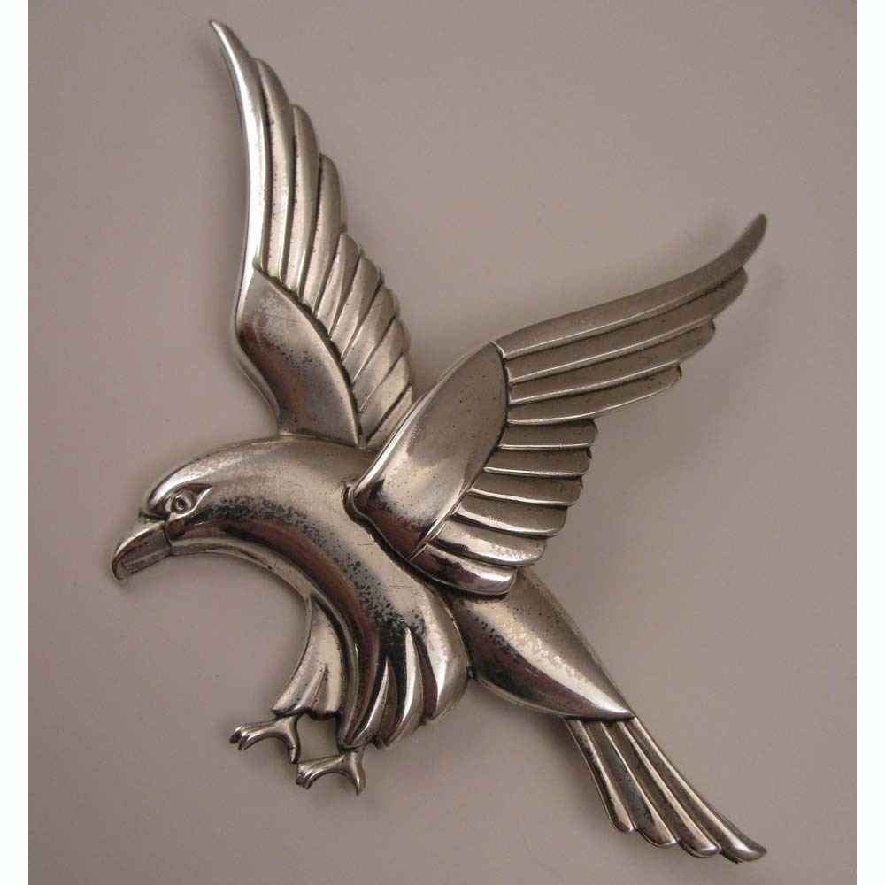 1940s Vintage Coro Norseland Sterling Silver Hawk Bird Brooch