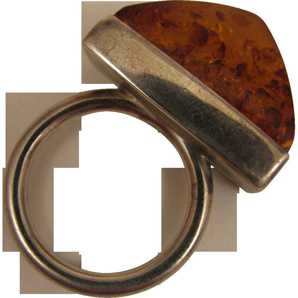 Vintage Mod Amber Sterling Silver Ring size 9