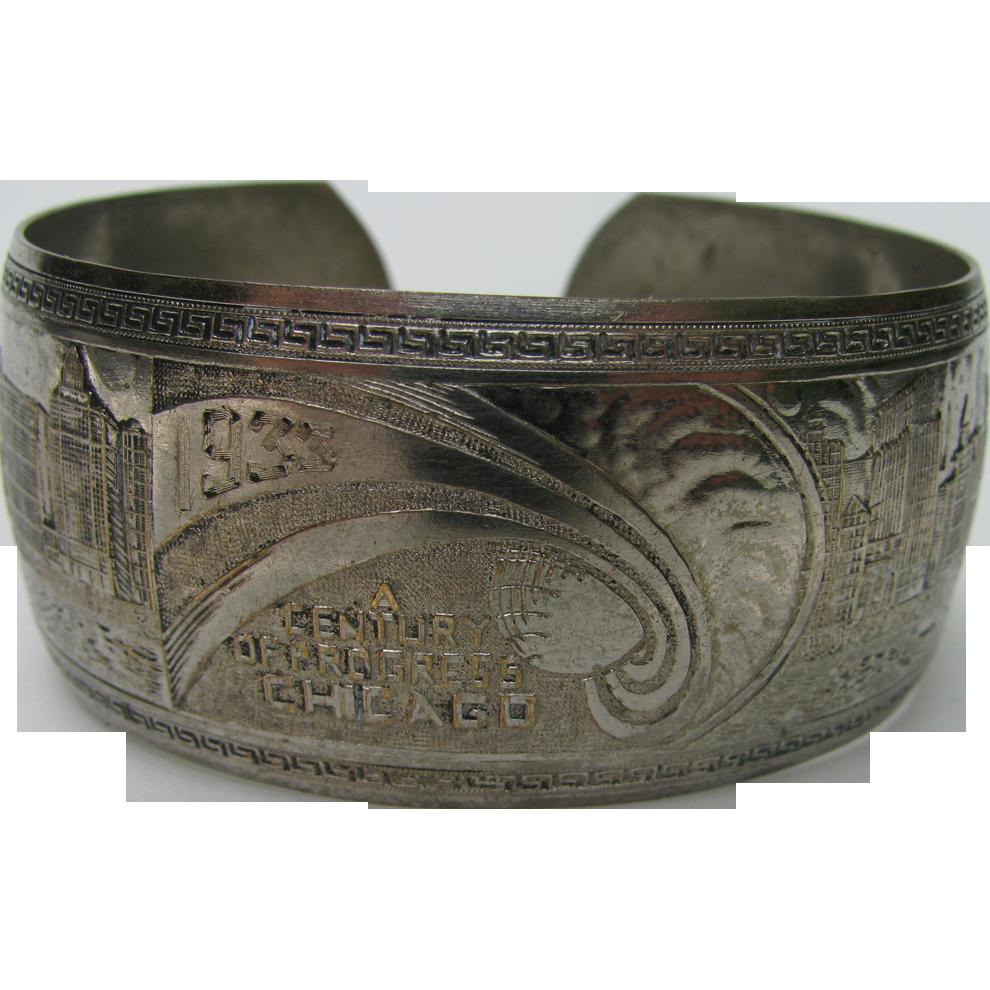 1933 Chicago World's Fair Bracelet Cuff