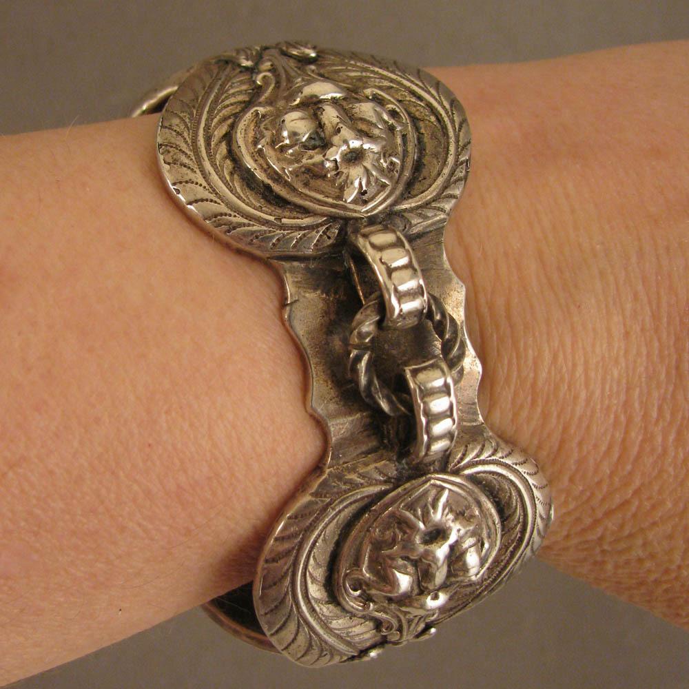Antique Heavy Cast Silver Cuff Bracelet