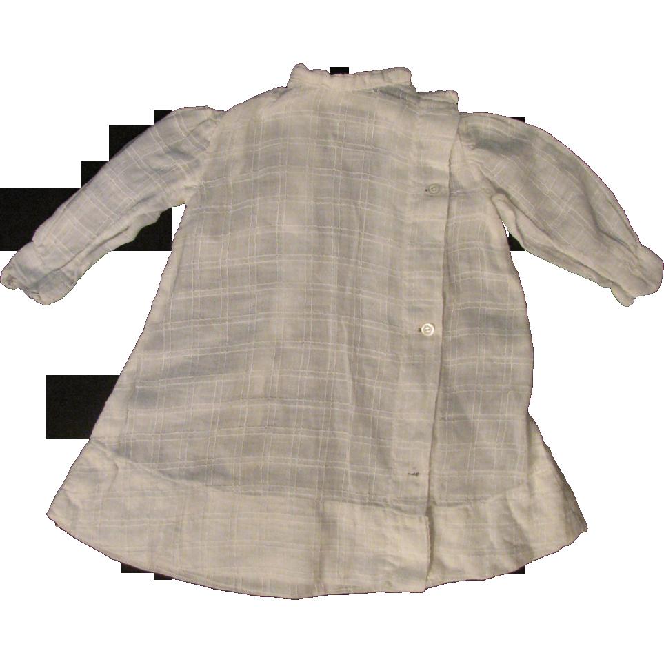"Antique Window Pane Weave Cotton Voile Dress for 16"" -18"" Bisque Doll"