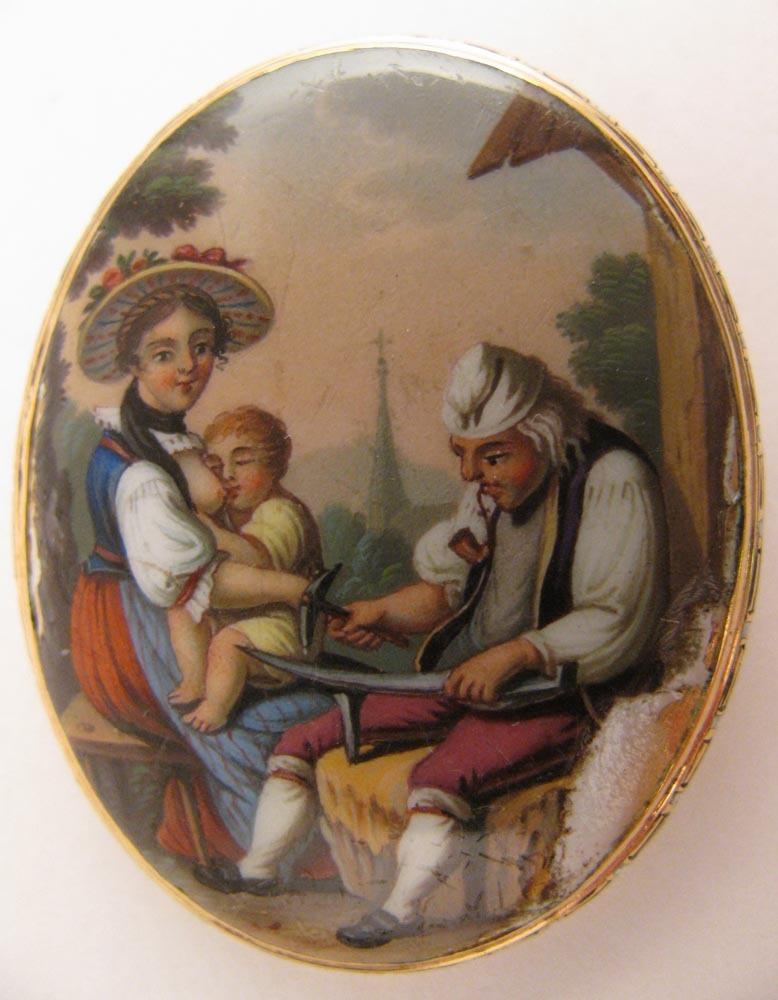 Georgian 15K Enameled Brooch w/ Scene of Black Smith & Mother Nursing Child