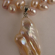 "15"" Pale Mauve Pink Fresh Water Pearl Necklace w/ Baroque Pearl Drop"