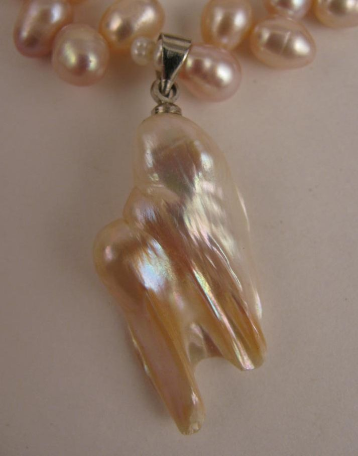 """15"""" Pale Mauve Pink Fresh Water Pearl Necklace w/ Baroque Pearl Drop"""