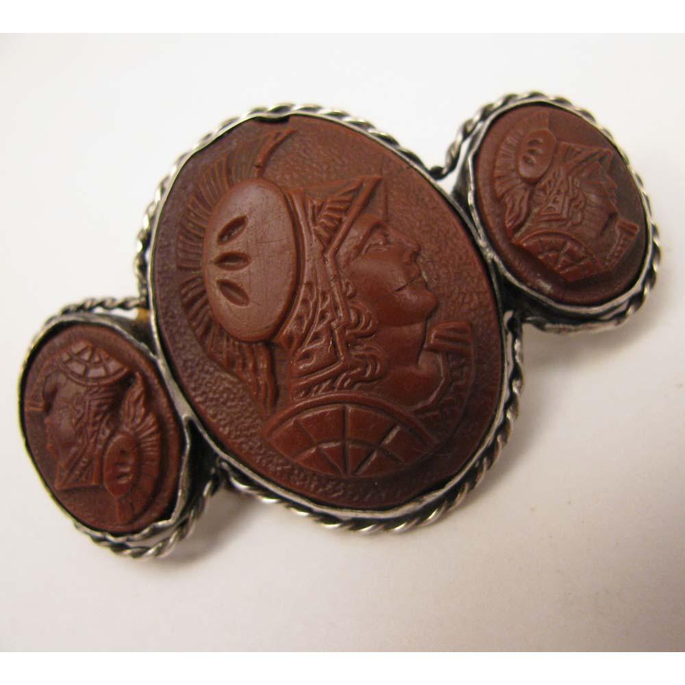 Antique Victorian 800 Silver Triple Cameo Warriors Brooch