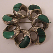 SALE Antique Victorian Scottish Malachite Sterling Silver Brooch