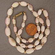 """SALE 18"""" Antique Angel Skin Coral + Cultured Pearl Necklace"""