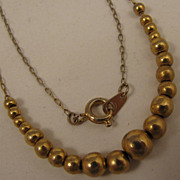 "15"" Vintage Gold Filled Bead Necklace"