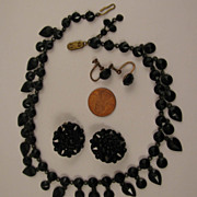 Victorian Gothic Mourning Black Choker Necklace + Earrings Set