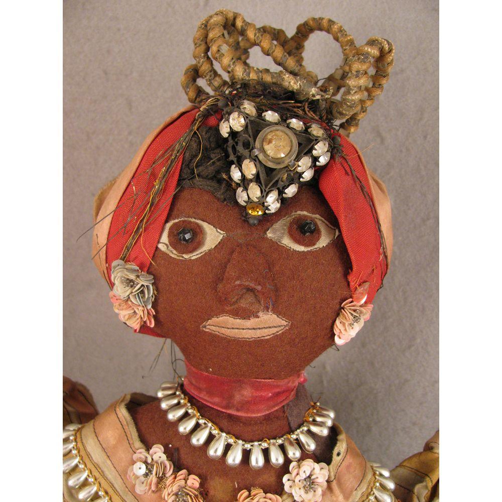 Vintage Felt Ethnic Caribbean Black Folk Art Doll in Traditional Costume