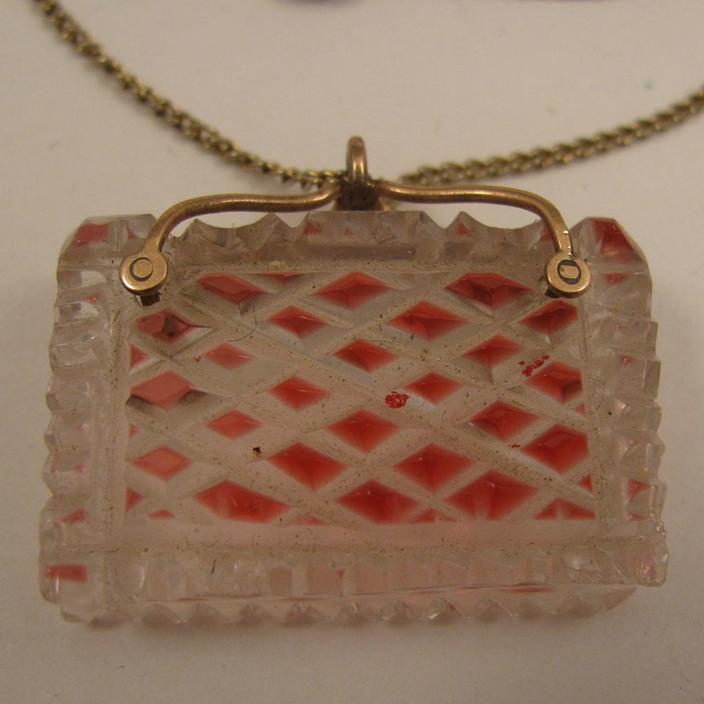 Antique Cut Glass Book Fob on Necklace Chain