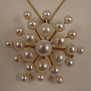 Vintage 14K Cultured Pearl Galaxy Brooch Pendant & Necklace Chain
