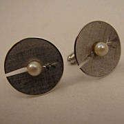 MId Century Modern Mans Sterling Silver Cultured Pearl Cufflinks