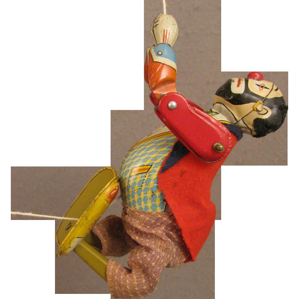 Vintage Tin Mechanical Toy Climbo the Climbing Clown