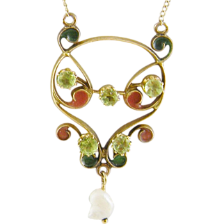 SALE Antique 14 Kt Gold Art Nouveau Peridots PLIQUE a JOUR  Necklace