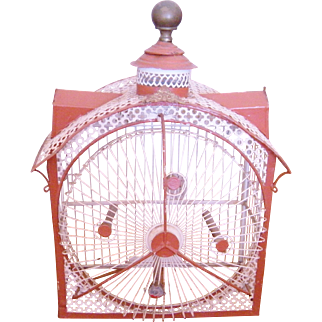 Charming Antique  VICTORIAN PAINTED TOLE with Wheel Bird House