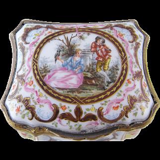 ANTIQUE GERMAN PORCELAIN Table Snuff Cartouche Shape Box