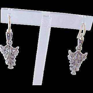 Antique 14 Kt Gold  ROSE CUT DIAMONDS w French Hooks Earrings