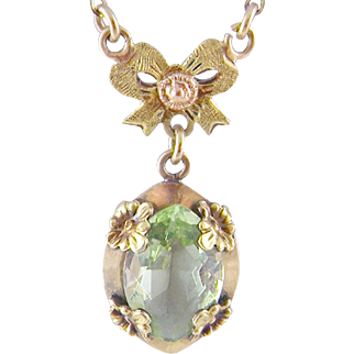 Antique 12 to 14 Kt Gold Peridot  BOW PENDANT NECKLACE