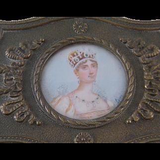 Antique French Bronze with Miniature Portrait of Empress  JOSEPHINE JEWELRY BOX