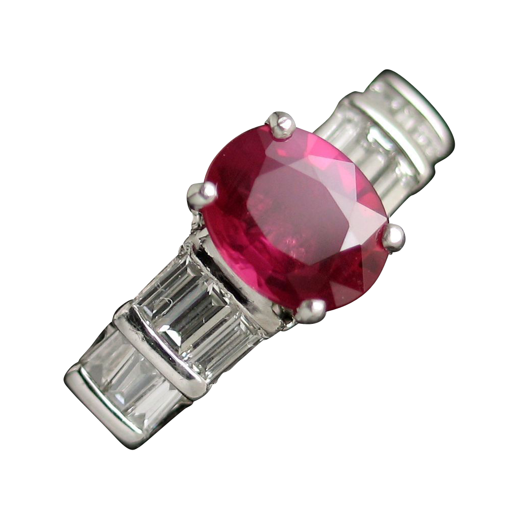 Rich & Brilliant GIA Unheated Ruby & Diamond Ring