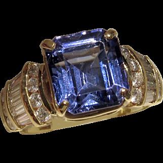 REDUCED MUAO: $14,650 RIVETING 7.67ct Tanzanite and Diamond Ring