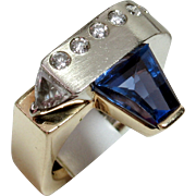 MUAO: One-of-a-Kind Designer 14kt Tanzanite & Diamond Ring