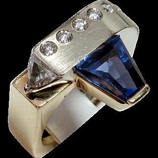 SALE MUAO: One-of-a-Kind Designer 14kt Tanzanite & Diamond Ring