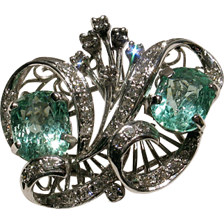 SALE MUAO: Certified Vintage Double Emerald & Diamond Cocktail Ring