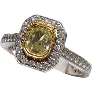 MUAO: BEAUTIFUL 18kt Vintage Glowing Fancy Yellow Diamond Engagement Ring