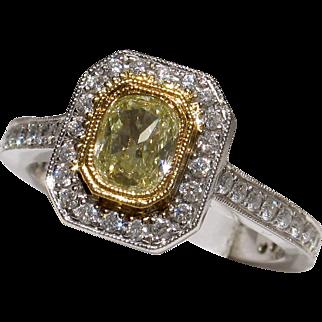 REDUCED MUAO: BEAUTIFUL 18kt Vintage Glowing Fancy Yellow Diamond Engagement Ring