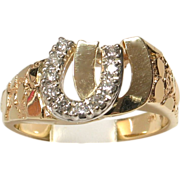 14k Yellow Gold Diamond Double Horseshoe Ring for Him