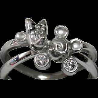 Rare Disney Mickey & Minnie 18k Diamond Ring - Unique Collectible