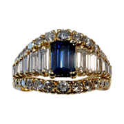 MUAO: $13,850 Magnificent 4.06tcw UNHEATED Blue Sapphire & Diamond Ring