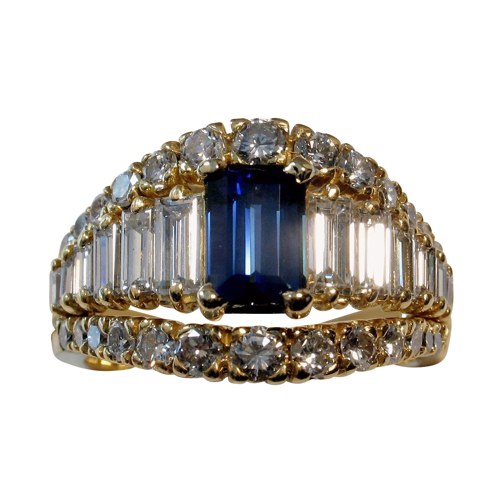 MUAO: $13,850 Magnificent 4.06tcw UNHEATED Blue Sapphire & Diamond Ring