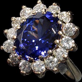 MUAO: Extremely Beautiful 14kt 'Princess Di' 5.88ct Tanzanite & Diamond Ring